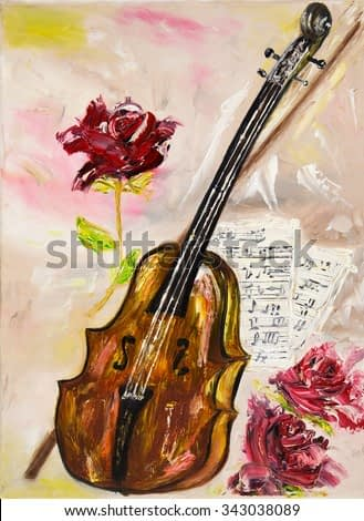 Original oil painting showing a violin. roses and music sheets on canvas.Musical theme.Modern Impressionism,  modernism, marinism