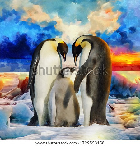 modern realistic oil painting of cute colorful Penguin family in sunset Arctic Ocean , artist collection of animal painting for decoration and interior, canvas art, abstract, illustration