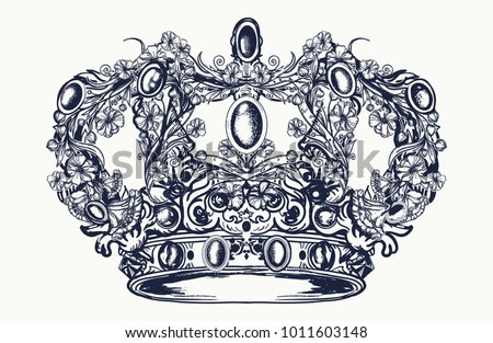 Royal imperial crown from art nouveau flowers tattoo and t-shirt design