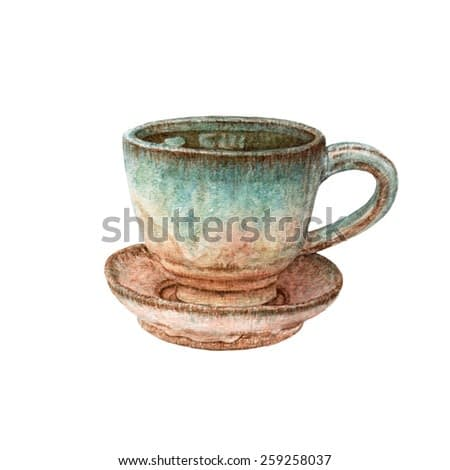 Watercolor clay cup for tea with saucer.