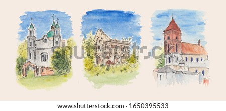 Watercolor stock illustration with vibrant landscapes. Architecture sketch paintings with bright blue sky and historical Catholic churches. Concept for Easter decorations, wallpaper, post cards art.