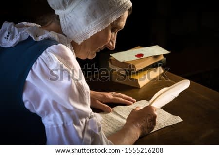 Rembrandt style or Renaissance portrait of a woman writing a letter with a feather quill