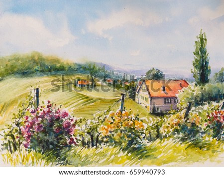 Landscape with summer vineyards and roses bushes in South Styria, Austria.Picture created with watercolors.