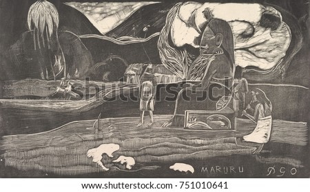 Maruru, by Paul Gauguin, 1893-94, French Post-Impressionist print, woodcut on paper. The image is from his earlier painting, Hina Maruru of 1893. Gauguin\x90s created images of Hina and other deities