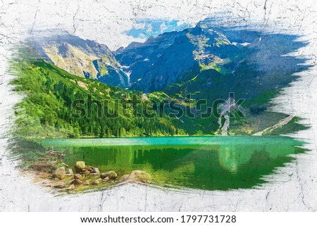 Famous lake in Tatra mountains, watercolor painting