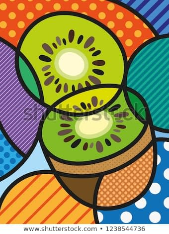 Modern pop art kiwi illustration /  print for you design. Healthy, ecological and fresh food design. Vector, abstract and  decorative fruit object.