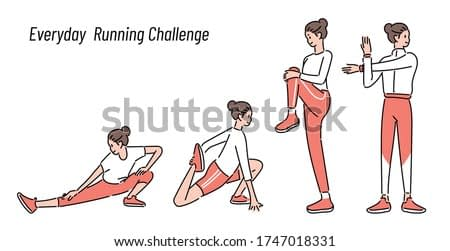 Woman stretching in warm-up before jogging. hand drawn style vector design illustrations.