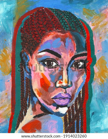 Black lives matter. African woman  portrait pop art style picture. African woman painting. Hand drawn african woman in street style oil on canvas