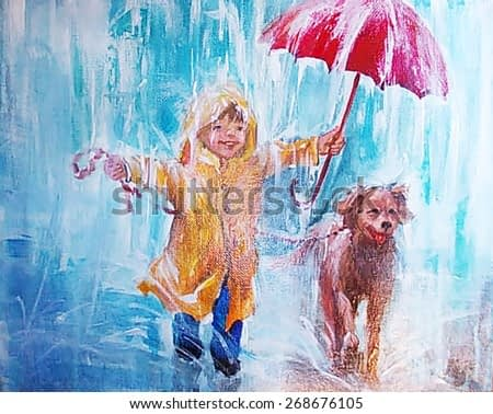 oil painting, teenager,  kindness, child with a dog in the rain