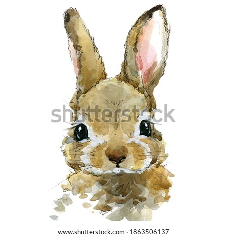 Cute rabbit watercolor illustration. baby animals series
