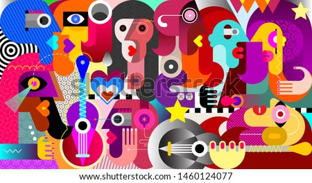 Large group of people at a music festival abstract art vector illustration.