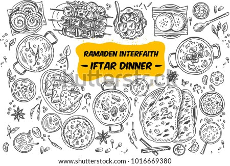Drawing of top view Iftar dinner on the table, Vector