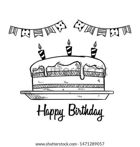 Cute Birthday Cake and Decoration for Party With Sketch or Doodle Style