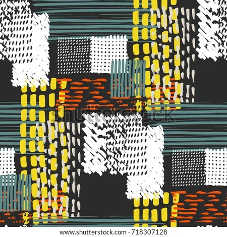 Memphis seamless  pattern in retro style. Doodle pattern hand-drawn pen, ink, chalk.
