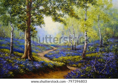Spring forest. Flowers. Oil paintings landscape. Fine art.
