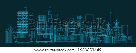 Іndustrial panorama view. Vector illustration of abstract manufacturing landscape. Dark blue background