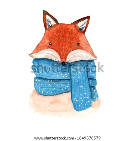 Cute vector watercolor orange fox in striped and snowy blue scarf. Childish cartoon New Year illustration with cheerful animal for greeting card design, banner, sticker, Christmas decoration