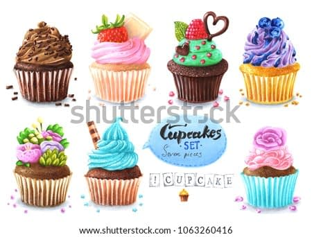 Hand painted Cupcakes Set on white background. Watercolor and marker art Food and Drink Illustration