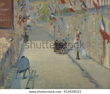 The Rue Mosnier with Flag, by Edouard Manet, 1878, French painting, oil on canvas. On a French government holiday, 'Celebration of Peace', a hunched amputee on crutches, perhaps a war veteran or begg