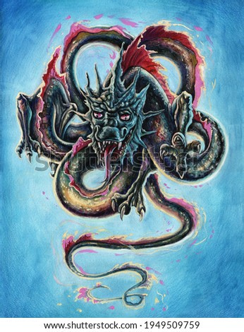 Fantasy Japanese dragon illustration, hand drawn flying Chinese snake painting art, watercolor fire breathing reptile illustration in asian style.
