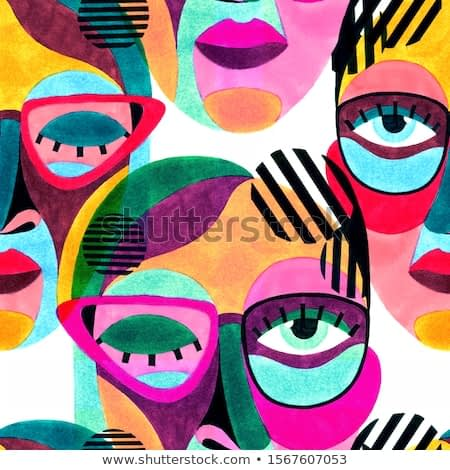 Woman portrait with glasses in modern abstract style. Hand drawn raster seamless pattern for your contemporary fashion design.