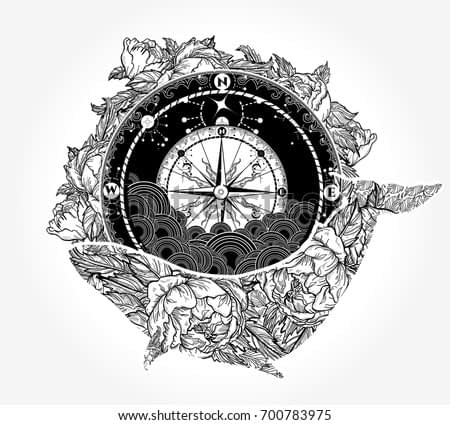 Whale and compass tattoo and t-shirt design. Travel, adventure, outdoors symbol