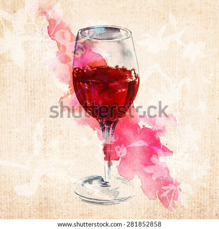 A watercolour drawing of a glass of red wine on old textured paper with abstract flowers silhouettes