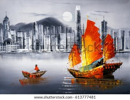 Oil Painting - Victoria Harbor, Hong Kong