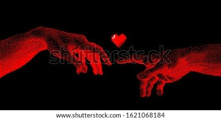 Hands going to touch together, look like the Michelangelo's art work. Cyberpunk 8-bit style art collage.