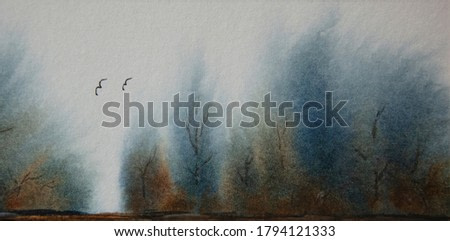 A watercolor painting of trees in the wind in indigo blue and brown.