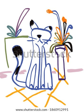 Cat at Home Painting like Raoul Dufy style, Expressionism and Fauvism art. Modern and contemporary art colorful painting. For print and poster art