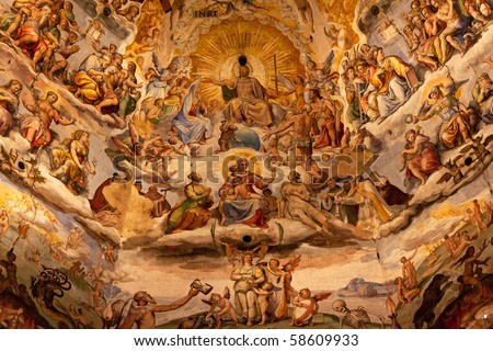 Jesus Christ Judgment Vasari Fresco Brunescelli's Dome Duomo Basilica Cathedral Church Florence Italy Fresco done in the 1500s.