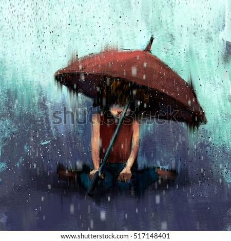 digital painting of girl with an umbrella in the rain, acrylic on canvas texture
