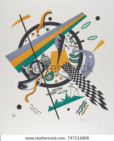 Kleine Welten III , by Vasily Kandinsky, 1922, Russian German Expressionist print. Straight edged and sinuous flat shapes of color, circles, and hand drawn forms and an inclined checkerboard contribut