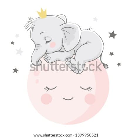 Vector hand drawn illustration of a cute baby elephant, sleeping on the pink moon.