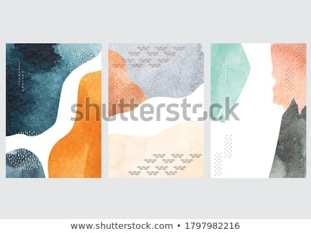 Japanese background with watercolor texture vector. Abstract template with geometric pattern in Asian style.