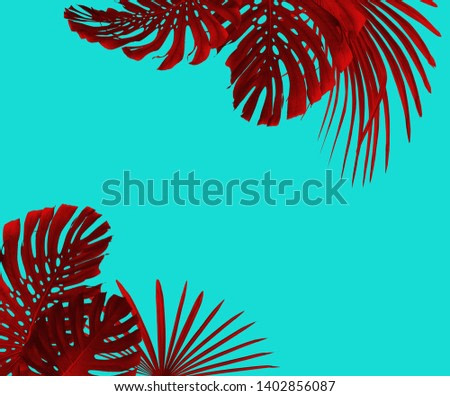 Tropical leaves frame duotone style in red and turquoise with free space for your text, can be used as background