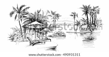 Black and white painting Palm alley vector illustration