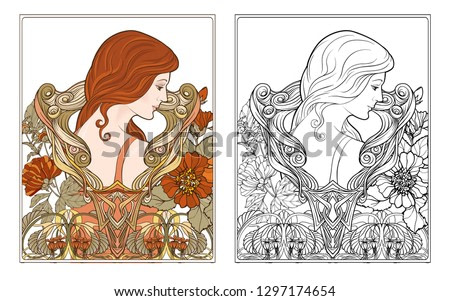 Portrait of a woman with long hair in floral frame in old, retro, art nouveau style. Colored and outline design. Vector illustration. Coloring page for theadult coloring book with colored sample