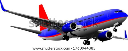 Passenger Airplanes.  Colored 3d illustration for designers