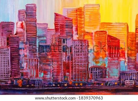 Artistic painting of skyscrapers. Abstract style. Cityscape panorama.