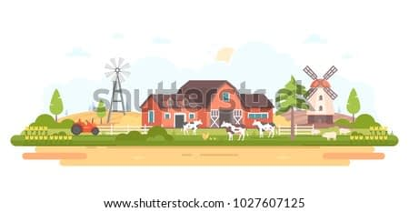 Country life - modern flat design style vector illustration on white background. A composition with a village, a barn, tractor, windmill, farm animals. Agricultural concept