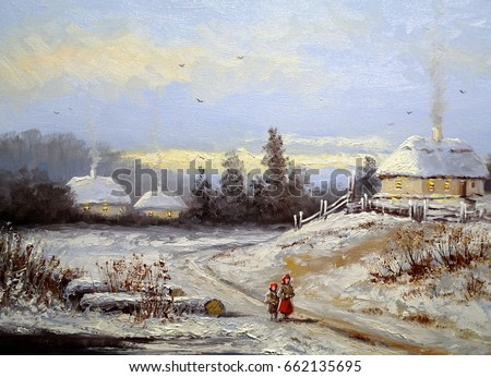 Oil painting, landscape of winter village