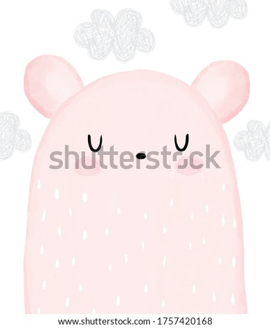 Baby Shower Vector Illustration with Sweet Dreamy Bear. Lovely Big Pink Teddy Bear and Gray Fluffy Clouds on a White Background. Baby Girl Room Decoration. Watercolor Style Nursery Vector Art.