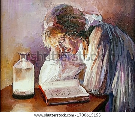 A young girl studies by candlelight, reads an interesting book at night. Oil painting on canvas.