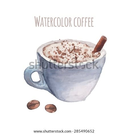 Watercolor coffee in vector. Hand painted illustration with cup of cappuccino, cinnamon stick, coffee beans isolated on white background. Artistic cozy food object