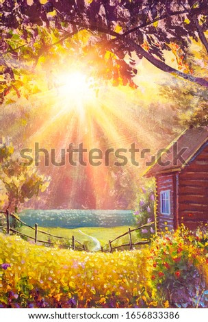 Sunny oil painting summer warm rural landscape with sunbeams syn rays modern fine art nature, flowering bushes and a cozy wooden village house illustration.