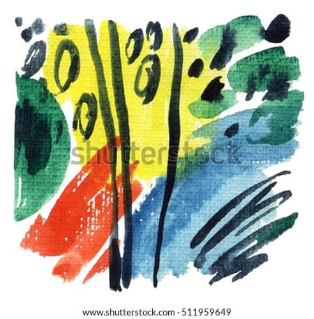 Abstract watercolor background. Modern art painting with brush wet and dry strokes, paint stripes on rough textured paper. Hand painted abstract illustration