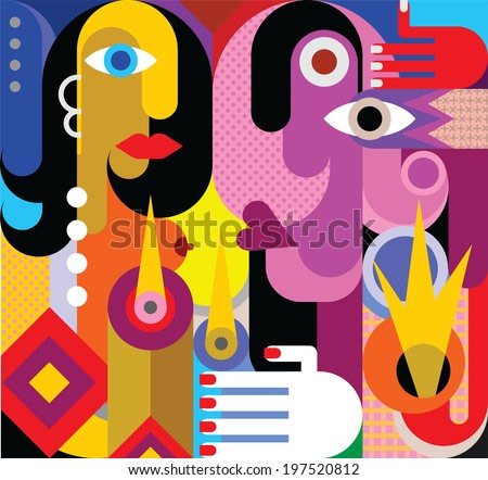 Man and Woman - vector illustration. Romantic dinner. Modern abstract art.