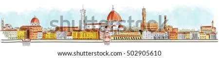 Overview of Florence, Lungarno, housing, buildings and churches